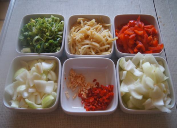 Kalbsleber mit Gemüse im Wok und gelber Basmatireis - Rezept - Bild Nr. 6211