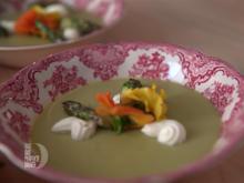 Spargelmousse und gegrillte Spargelspitzen mit Limetten-Crème-fraîche - Rezept - Bild Nr. 6225