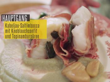 Saltimbocca vom Kabeljau auf Topinamburpüree mit Knoblauchkonfit und sautiertem Spinat - Rezept - Bild Nr. 2