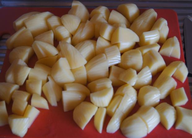 Herzhafte Buletten mit pikanter Sauce, Möhren-Mais-Gemüse und Kurkuma-Kartoffeln - Rezept - Bild Nr. 6241