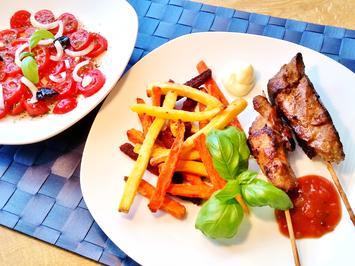 Gemüse-Pommes mit Fleisch-Spießchen - Rezept - Bild Nr. 2