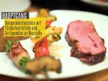 Tri-Tip mit Fächerkartoffeln, Gemüsespieß und Bohnen im Speckmantel - Rezept - Bild Nr. 6238