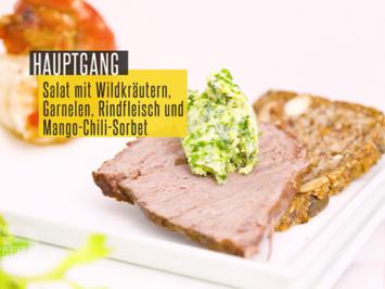Rinderfilet und Garnele mit Salat mit Wildkräutern und Himbeeren Dressing - Rezept - Bild Nr. 2