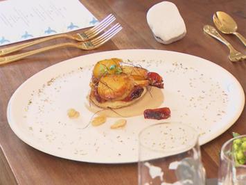 Rezept: Tarte Suprise mit karamellisierten Kartoffeln auf Mandel-Crème