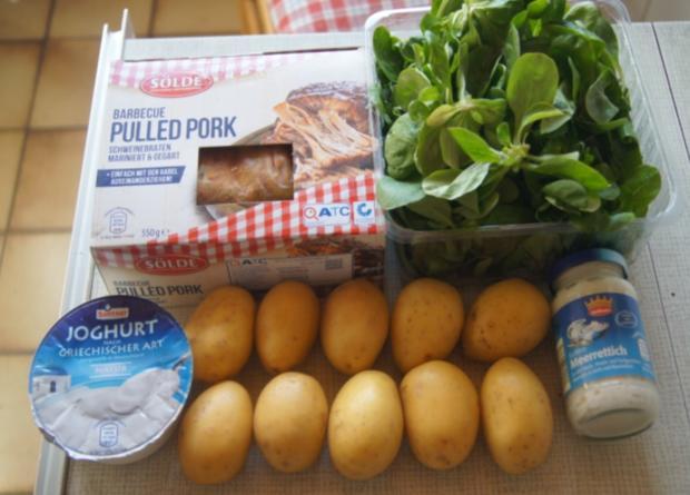 Pulled Pork mit gelben Kartoffeln und Feldsalat - Rezept - Bild Nr. 6267