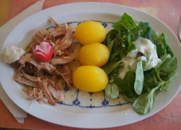 Pulled Pork mit gelben Kartoffeln und Feldsalat - Rezept - Bild Nr. 6275