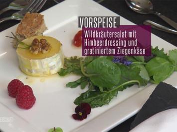 Gratinierter Jeißkies met lecker Wildkräuter-Schloot un Himbeer-Vinaigrette - Rezept - Bild Nr. 2