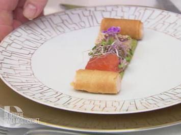 Rezept: Hausgebeizter Lachs und Thunfisch auf Guacamole mit Knuspercannelloni