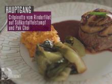 Crêpinette vom Rinderfilet mit Rotweinsoße auf Süßkartoffelstampf und Pak Choi Gemüse - Rezept - Bild Nr. 2