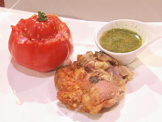 Bettlerhuhn – Maishähnchenkeule im Salzteig gegart und gegrillte Tomate (Oliver Pocher) - Rezept - Bild Nr. 6272
