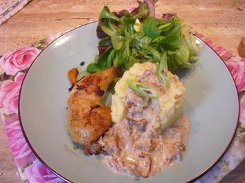Kartoffel-Stampf mit Hähnchen Keule ,u. Steinpilz-Soße - Rezept - Bild Nr. 6346