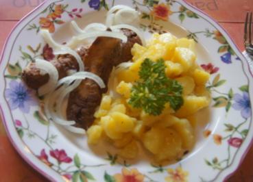 Bratheringsfilets mit Zwiebelringen und schwäbischen Kartoffelsalat - Rezept - Bild Nr. 6368