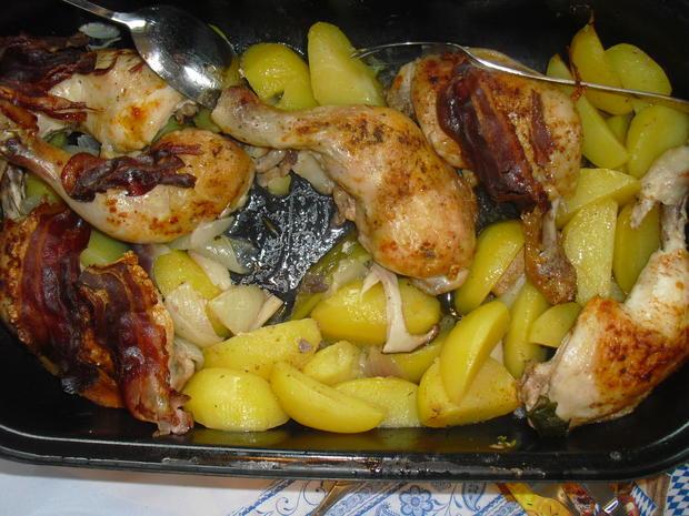 Hühner Schlegel , Kartoffel Spalten , Gemüse - Rezept - Bild Nr. 6362