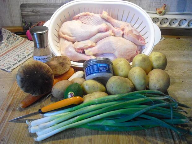 Hühner Schlegel , Kartoffel Spalten , Gemüse - Rezept - Bild Nr. 6363