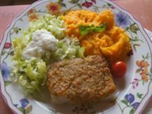 Schlemmerfilet mit Süßkartoffelstampf und Eisbergsalat - Rezept - Bild Nr. 2