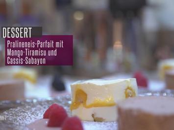 Pralinenhalbgefrorenes an Mango-Tiramisu mit Cassis-Sabayon - Rezept - Bild Nr. 2