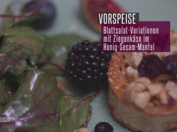 Blattsalat-Wildkräuter-Variationen mit Ziegenkäse im Honig-Sesam-Mantel - Rezept - Bild Nr. 2