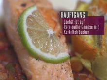 Lachsfilet auf Ratatouillebett mit Kartoffelröschen und Parmesan-Weißwein-Schaum - Rezept - Bild Nr. 2