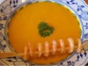 Pikante Kürbiscremesuppe mit Garnelenspieß - Rezept - Bild Nr. 6391