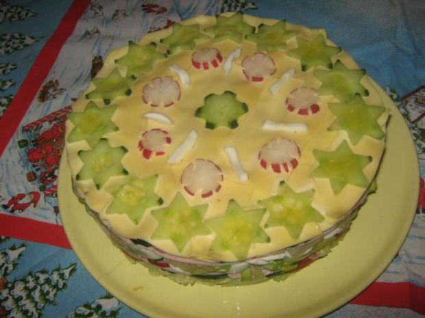 Salat Weihnachten.Salat Torte Für Weihnachten