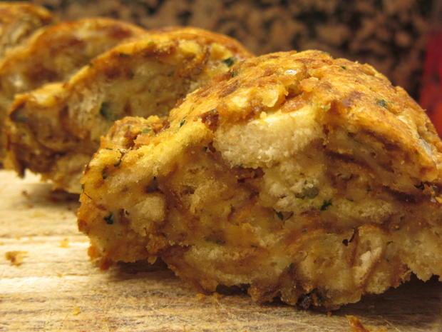 Fleisch: Gebackene Weißwurst mit Brez´nknödeln und Senfsoße - Rezept - Bild Nr. 6613