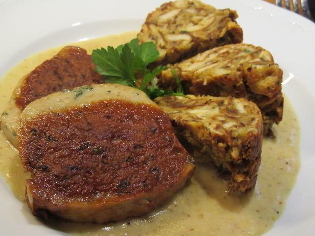 Fleisch: Gebackene Weißwurst mit Brez´nknödeln und Senfsoße - Rezept - Bild Nr. 6619