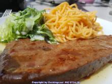 Biggi`s Spezial = Kalbsleber (sautiert) mit Salat und Pasta - Rezept - Bild Nr. 6643