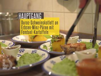 Duroc-Schweinskotelett an Erbsen-Minze-Püree mit Fondant-Kartoffeln - Rezept - Bild Nr. 2