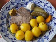 Pellkartoffeldrillinge mit Landleberwurst und Gewürzgurke - Rezept - Bild Nr. 2