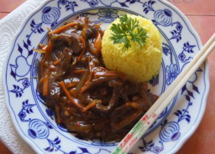 Chinesisches Rindfleisch mit Gemüse und Basmati Reis - Rezept - Bild Nr. 2