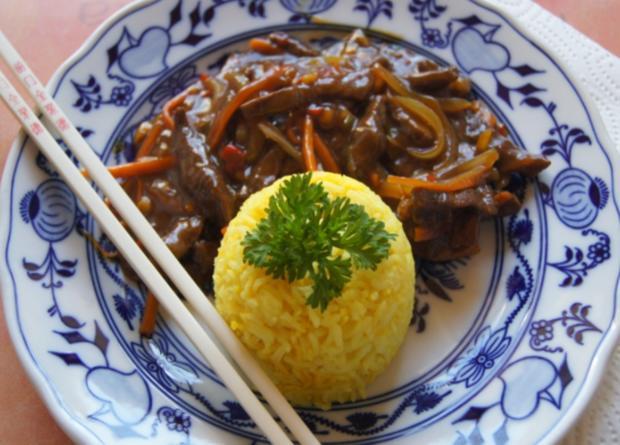 Chinesisches Rindfleisch mit Gemüse und Basmati Reis - Rezept - Bild Nr. 15
