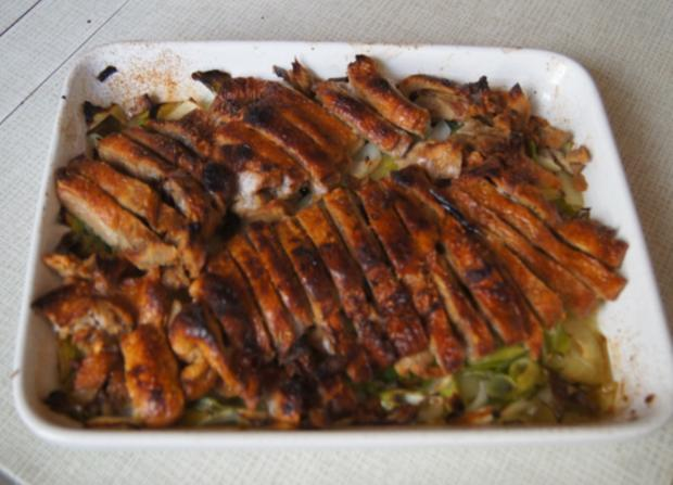 Ente auf Gemüsebett mit Erdnusssauce, Champignons und gelber Basmatireis - Rezept - Bild Nr. 7