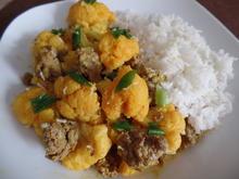 Blumenkohl-Hackfleisch-Curry mit Reis - Rezept - Bild Nr. 6637