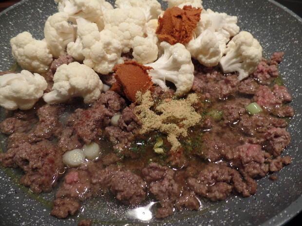 Blumenkohl-Hackfleisch-Curry mit Reis - Rezept - Bild Nr. 6640