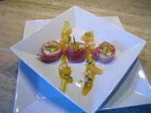 Ziegenkäse überbacken ,mit Mandarinen- Senf-Schwarzwälder-Schinken - Rezept - Bild Nr. 6692
