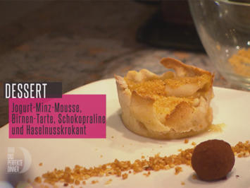 Joghurt-Minz-Mousse mit Haselnusskrokant, Schokopraline und Birnentarte - Rezept - Bild Nr. 6739