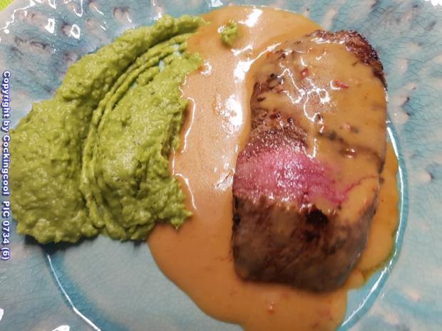 Biggi`s Fleisch = Lammlachs mit Erbskastanienpürreè - Rezept - Bild Nr. 6745
