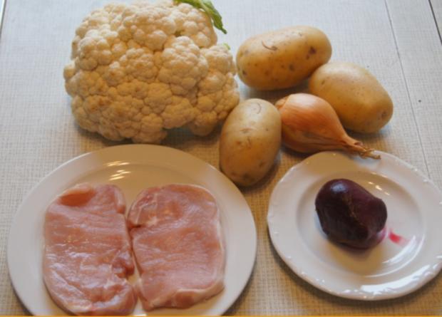 Minutenschnitzel mit Blumenkohl und Rote Beete-Kartoffelstampf - Rezept - Bild Nr. 6778