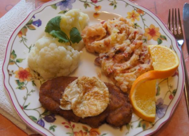 Minutenschnitzel mit Blumenkohl und Rote Beete-Kartoffelstampf - Rezept - Bild Nr. 6785