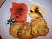 Lachs-Rosé mit Kartoffelpuffer und Orangen-Meerrettich - Rezept - Bild Nr. 6786