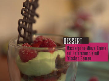 Blutrotes Finale: Mascarpone-Minz-Creme auf Hafer Crumble mit frischen Himbeeren - Rezept - Bild Nr. 2