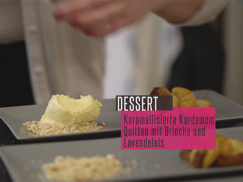 Rezept: Karamellisierte Kardamom-Quitten mit Bratbrioche, Lavendeleis und Walnussstreuseln