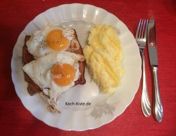 Rezept: Leberkäse mit Spiegelei und Kartoffelmus