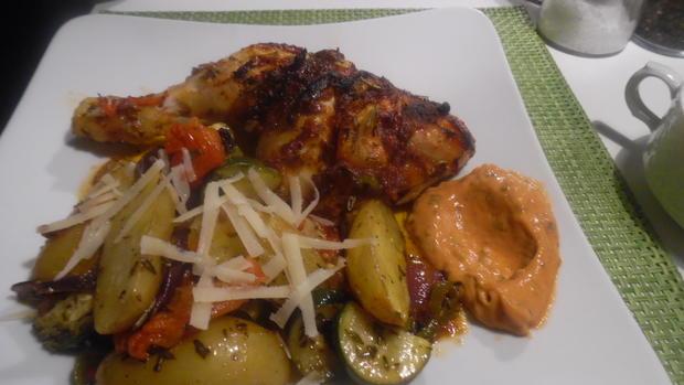 Hähnchenschenkel mediterran mit Ofen-Gemüse - Rezept - Bild Nr. 6872