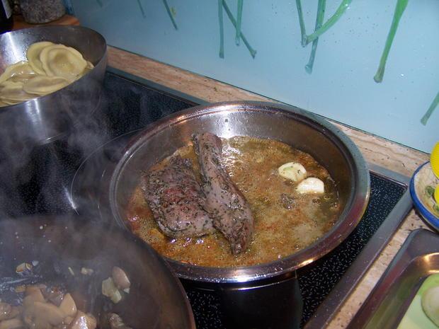 Lamm-Lachs mit Champignon-Soße und  Tortellini (gefüllt mit Ziegenkäse u. Honig) - Rezept - Bild Nr. 6904