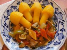 Schweinefilet mit Champignons, Paprikas , Zwiebeln und Kartoffelpilzen - Rezept - Bild Nr. 6931