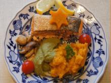 Backofenlachsfilet auf Champignons mit Zuckerschotenpüree und Süßkartoffelstampf - Rezept - Bild Nr. 6936