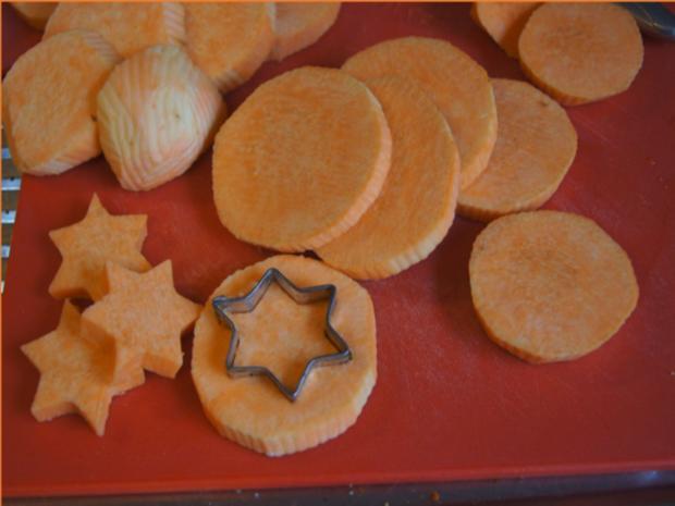 Backofenlachsfilet auf Champignons mit Zuckerschotenpüree und Süßkartoffelstampf - Rezept - Bild Nr. 6943