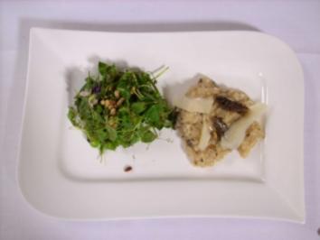 Spitzmorchelrisotto mit Wildkräutersalat - Rezept