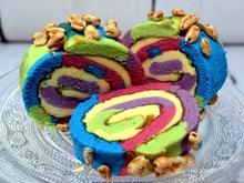 """Oma Löffel`s Kuchen = Biskuitrolle heute """"in echt Starken Farben"""" - Rezept - Bild Nr. 7006"""